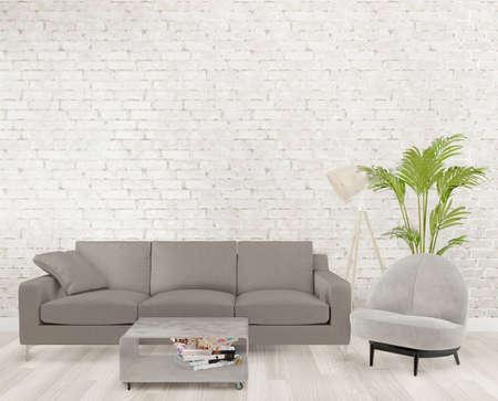 Photo pour 3d rendering loft living room with gray sofa ,lamp, tree, brick wall, mock up - image libre de droit