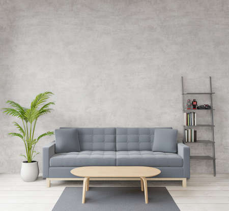 Photo pour 3D rendering Loft style living room with raw concrete ,wooden floor,sofa,image for copy space or mock up - image libre de droit
