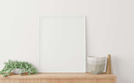 Photo for Home interior poster mock up with frame on the cabinet and white wall background. 3D rendering. - Royalty Free Image