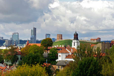 Vilnius old town and modern town panorama