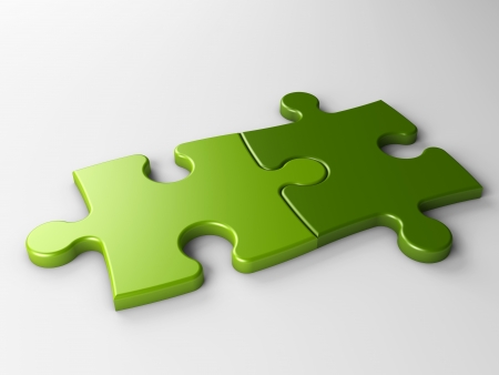 Photo pour isolated two puzzle pieces with clipping path - image libre de droit