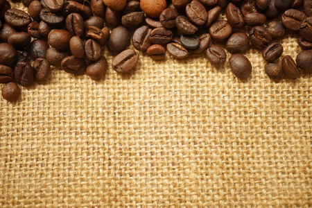 coffee beans on gunny bag