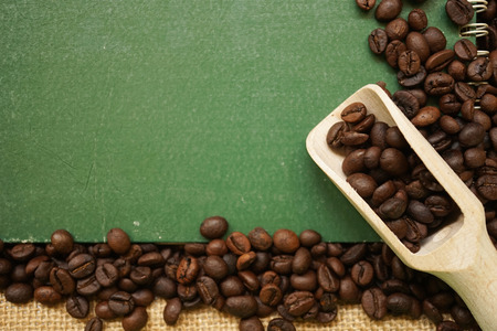 coffee beans on the old paper