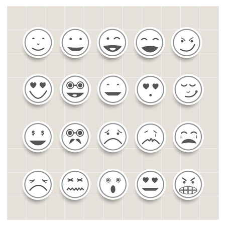Vector set face emotion,smiley icons, different emotions