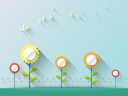 Abstract spring background with paper flowers. Flat design style on light blue background with space for design