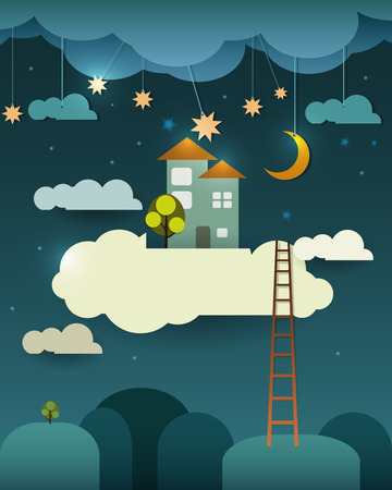 Abstract paper-fantasy home sweet home -moon with stars-cloud and sky at night .Blank space for design