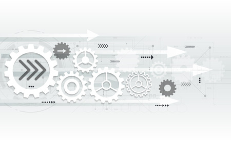 Illustration pour Vector abstract futuristic gear wheel engineering on circuit board, Illustration hi-tech electric digital telecoms speed technology on light grey color background - image libre de droit