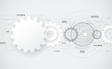 Foto de Vector abstract futuristic gear wheel engineering on circuit board, Illustration hi-tech electric, digital telecoms speed technology on light grey color background,Abstract 3d white paper gear wheel shape  .Blank gear wheel shape for your design. - Imagen libre de derechos
