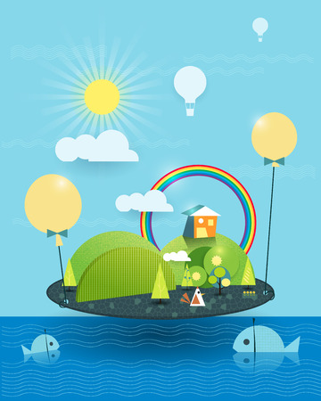 Fantasy  home on the similar island. Tree, flower and green hill with sunshine and rainbow, Hot air balloon over the land with blue sky  and cloud background. Two fish in the blue sea. Abstract image paper cut for your design. Illustration vector file the