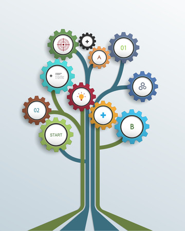 Illustration pour Abstract Growth tree concept with gear wheel and lines, can be used for place your content. Infographic, communication, icon, business, social media, technology, network and web design. - image libre de droit