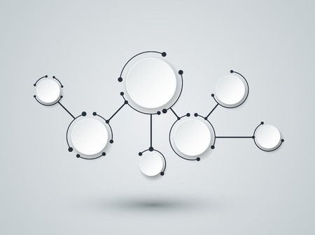 Foto de Abstract molecules and communication technology with integrated circles with Blank space for your design. Vector illustration global social media concept.  Light gray color background. - Imagen libre de derechos
