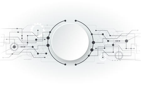 Illustration pour Vector illustration Abstract futuristic circuit board, hi-tech computer digital technology concept, Blank white 3d paper circle for your design on light grey color background - image libre de droit