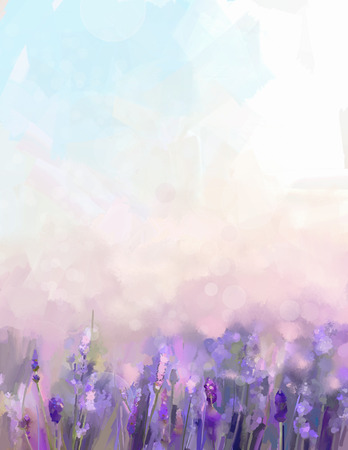 Foto de Oil painting lavender  flowers in the meadows. Abstract  oil painting sunshine at flower field in soft purple color and blur style with bokeh background. - Imagen libre de derechos