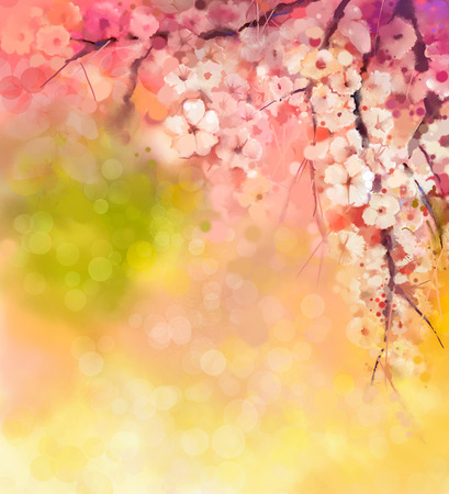 Photo pour Watercolor Painting Cherry blossoms - Japanese cherry - Sakura floral in soft color over blurred nature background. Spring flower seasonal nature background with bokeh - image libre de droit