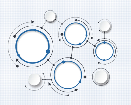 Abstract molecules with 3d paper circle and blank space for your content, infographic template, communication, business, network and web design. Vector illustration social media technology concept