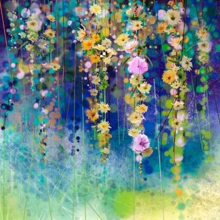 Abstract floral watercolor painting. Hand painted White, Yellow and Red flowers in soft color on blue green color background. Ivy flowers in tree park. Spring flower seasonal nature background