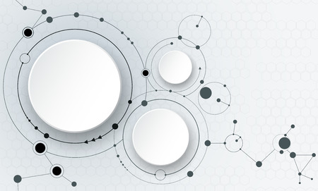 Illustration pour illustration of abstract molecules and communication - social media technology concept with 3D paper label circles design and space for your content, business, social media, network and web design. - image libre de droit