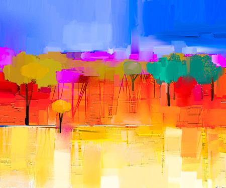 Foto de Abstract colorful oil painting landscape on canvas. Semi- abstract image of tree and field in yellow and red with blue sky. Spring season nature background - Imagen libre de derechos