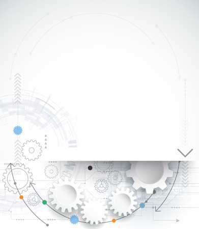 Illustration pour Vector illustration gear wheel and circuit board, Hi-tech digital technology and engineering, digital telecom technology concept. Abstract futuristic on light blue color background - image libre de droit