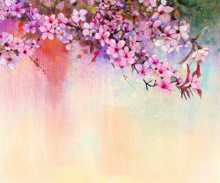 Photo pour Watercolor Painting Cherry blossoms - Japanese cherry - Pink Sakura floral in soft color over blurred nature background. Spring flower seasonal nature background - image libre de droit