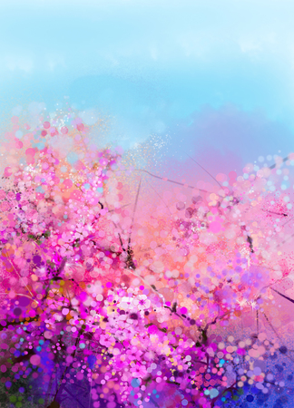 Photo pour Watercolor painting Cherry blossoms - Japanese cherry - Sakura floral with blue sky. Pink flowers in soft color with blurred nature background. Spring flower seasonal nature background with bokeh - image libre de droit