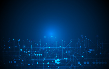 Illustration pour Abstract futuristic circuit board, Illustration high computer technology dark blue color background. Hi-tech digital technology concept - image libre de droit