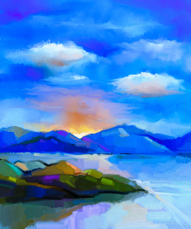 Photo pour Abstract colorful oil painting landscape on canvas. Semi- abstract image of hill and sea with sunlight and cloud blue sky. Spring season nature background - image libre de droit