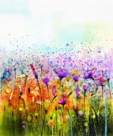 Foto de Abstract watercolor painting purple cosmos flower,cornflower, violet lavender, white and orange wildflower. Wild flowers meadow, green field paintings. Hand paint floral in meadows. Spring background. - Imagen libre de derechos