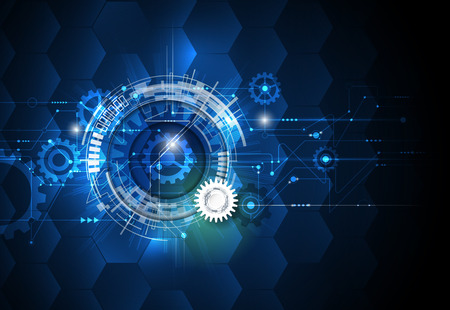 Illustration pour illustration gear wheel, hexagons and circuit board, Hi-tech digital technology and engineering, digital telecom technology concept. Abstract futuristic on light blue color background. - image libre de droit