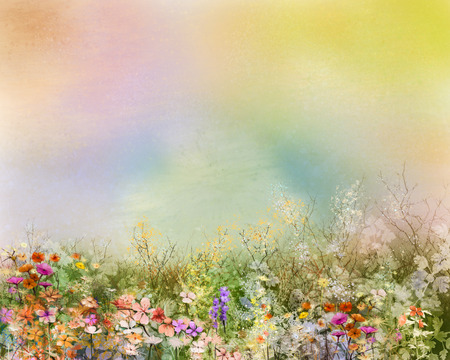 Photo for Abstract oil painting flowers plant. Purple cosmos, white daisy, cornflower, wildflower, dandelion flower in fields. Hand painted floral meadow and yellow background. Spring flower nature background. - Royalty Free Image