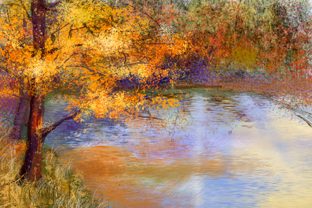 Foto de Oil painting landscape - colorful autumn trees. Semi abstract image of forest, trees with yellow - red leaf and lake. Autumn,Fall season nature background. Hand Painted landscape, Impressionist style - Imagen libre de derechos