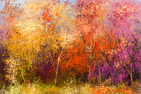 Oil painting landscape - colorful autumn trees. Semi abstract image of forest, trees with yellow - red leaf. Autumn, Fall season nature background. Hand Painted Impressionist style.