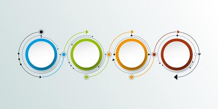 Illustration pour Vector molecule with 3D paper label, integrated circles background. Blank space for content, business, infographic, diagram, digital network, flowchart. Social network connection technology concept - image libre de droit