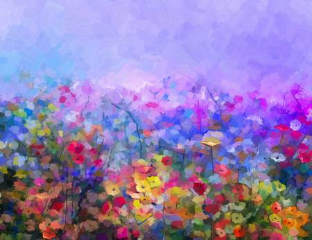 Foto de Abstract colorful oil painting purple cosmos flowe, daisy, wildflower in field. Yellow and red wildflowers at meadow with blue sky. Spring, summer season nature background. - Imagen libre de derechos