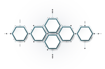 Vector molecule with 3D paper label, integrated Hexagon background. Blank space for content, business, infographic, diagram,digital network, flowchart, timeline, process. Social network connection technology concept