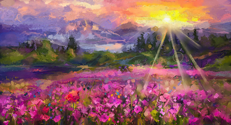 Foto de Abstract colorful oil painting purple cosmos flower, rhododendron flowers, wildflower in field. Violet, red wildflowers at meadow with sunrise and blue sky. Spring, summer season nature background - Imagen libre de derechos