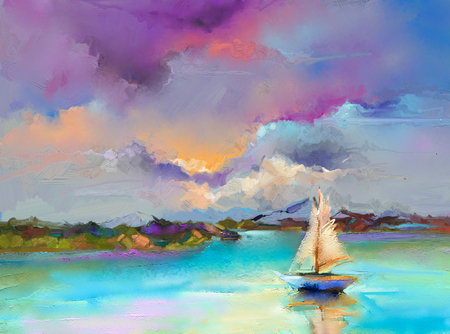 Foto de Colorful oil painting on canvas texture. Impressionism image of seascape paintings with sunlight background. Modern art oil paintings with boat, sail on sea. Abstract contemporary art for background. - Imagen libre de derechos