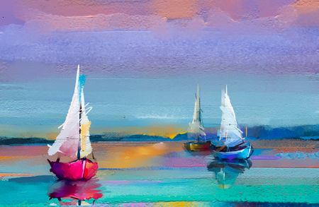 Foto de Colorful oil painting on canvas texture. Impressionism image of seascape paintings with sunlight background. Modern art oil paintings with boat, sail on sea. Abstract contemporary art for background - Imagen libre de derechos
