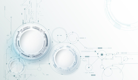 Illustration pour Vector design 3d paper circle with circuit board. Illustration Abstract modern futuristic, engineering, science, technology background. Hi tech digital connect, communication, high technology concept - image libre de droit