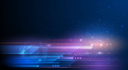 Illustration for Illustration of light ray, stripe line with blue light, speed motion background. Vector design abstract, science, futuristic, energy, modern digital technology concept for wallpaper, banner background - Royalty Free Image