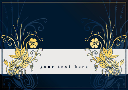 Blue greetings card with golden flowers