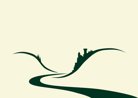 Stylized illustration of a typical old german castle situated above of a riverのイラスト素材