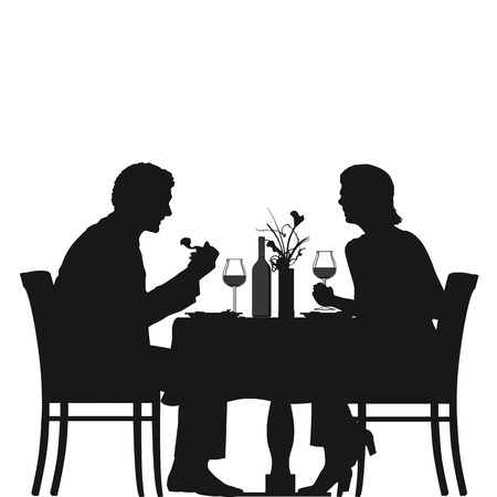 Illustration of a couple enjoying their dinner