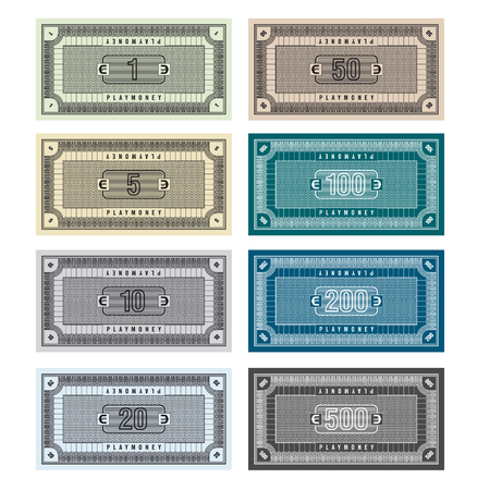 Detailed Illustration of fictive banknotes which can be used as play money