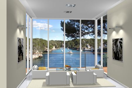 Virtual living room with a view to a small harbour