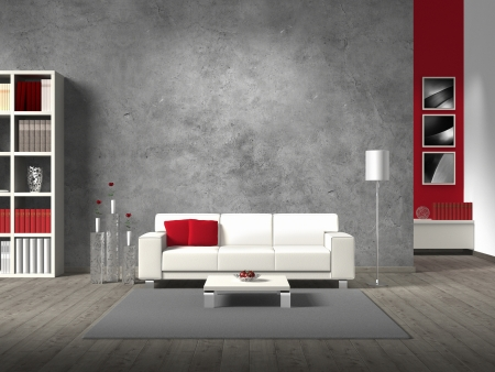 Photo pour modern fictitious living room with white sofa and copy space for your own image/photos on the concrete wall behind the sofa; the photos in the background are taken by me - no rights are innfringed - image libre de droit
