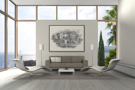 FICTITIOUS 3D rendering of a modern living room with my own drawing