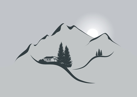 illustration of an alpine mountain landscape with chalet