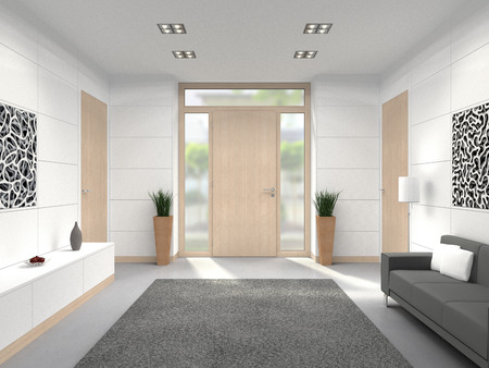 Photo pour FICTITIOUS 3D rendering of a modern lobby interior with wooden front door - image libre de droit
