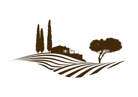Illustration pour rural Mediterranean landscape with fields, house and cypresses - image libre de droit